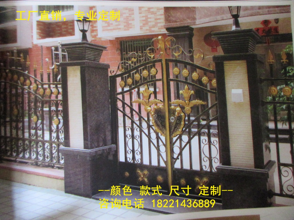 Custom Made Wrought Iron Gates Designs Whole Sale Wrought Iron Gates Metal Gates Steel Gates Hc-g98