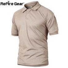 Refire gear Военная тактическая рубашка поло мужская летняя армейская камуфляжная рубашка поло Мужская дышащая быстросохнущая рубашка поло с карманом на руку