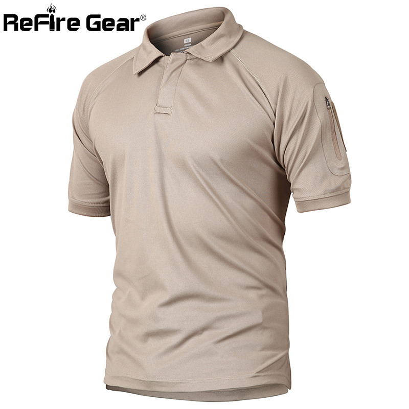 ReFire Gear Military Tactical Polo Shirt Men Summer US Army Camouflage Polo Man's Breathable Quick Drying Arm Pocket Polo Shirts