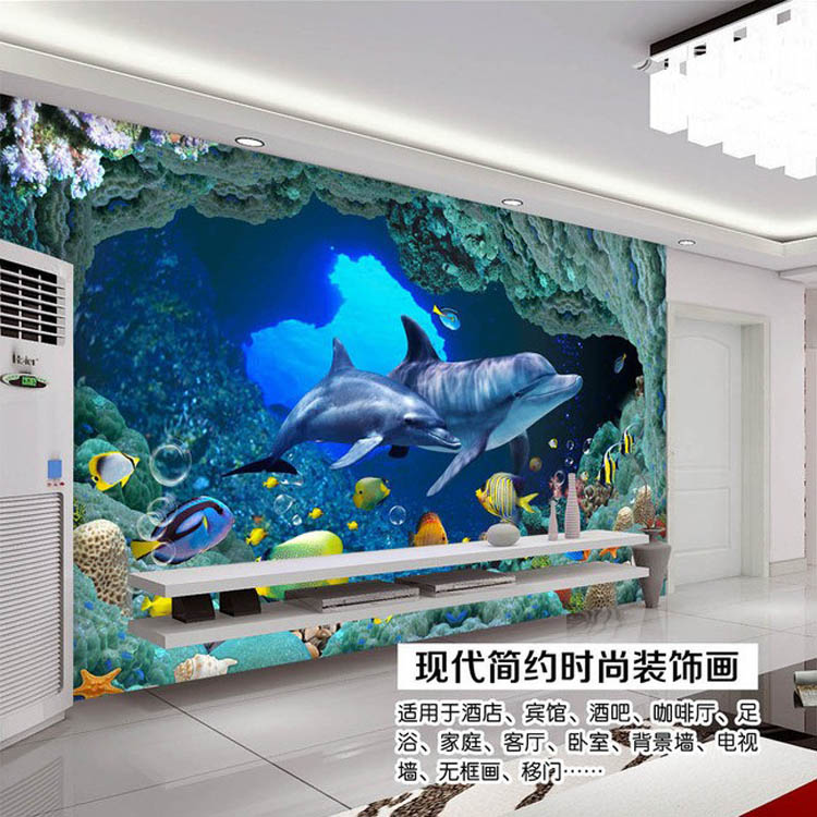 3d mural picture more detailed picture about 3d wall for 3d aquarium wallpaper for bedroom