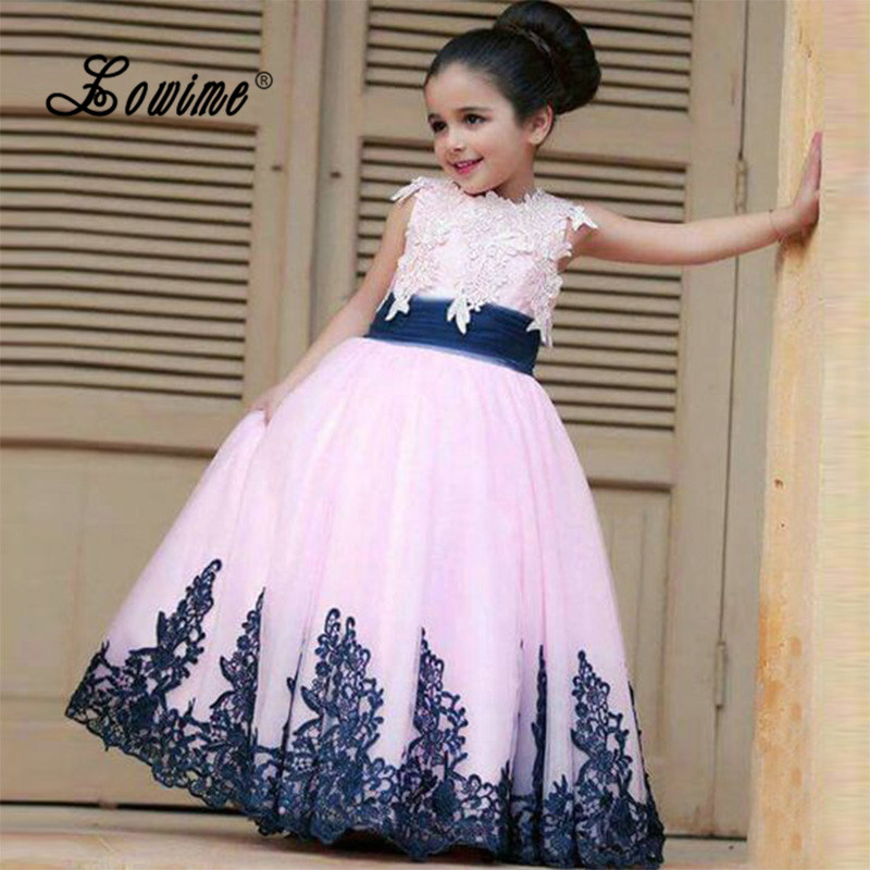 Pink Flower Girl Dress For Weddings Navy Blue Lace Little Girl Pageant Wedding Gowns 2017 Ball Gown Cute Holy Communion Dresses