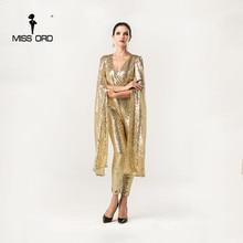 Бесплатная доставка missord 2015 Sexy Глубокий V Крылья Ангела цвет золотистый блесток комбинезоны FT5121-2