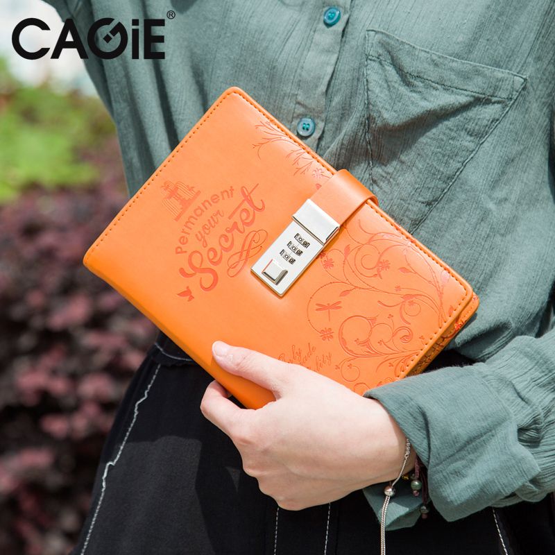 CAGIE Kawaii Emboss Flowers Lock Diary Sketchbook Notebooks School Daily Planner Personal Journals Notebook Travels Filofax