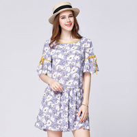 2017 여름 꽃 인쇄 여성 프릴 쉬폰 드레스 플러스 사이즈 나비 소매 나비 디자인 우아한 여성의 주름 여름 드레