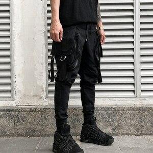 Image 4 - Gli uomini di personalità punk hiphop harem pantaloni cantante di nightclub costume di scena pantaloni da uomo hip hop nastri cargo jogging streetwear