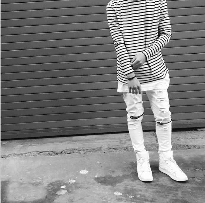 Новинка 2016 года, рваные джинсы для мужчин, обтягивающие, потертые, тонкие, известный бренд, дизайнерские, байкерские, хип-хоп, swag tyga, белые, черные джинсы Kanye west