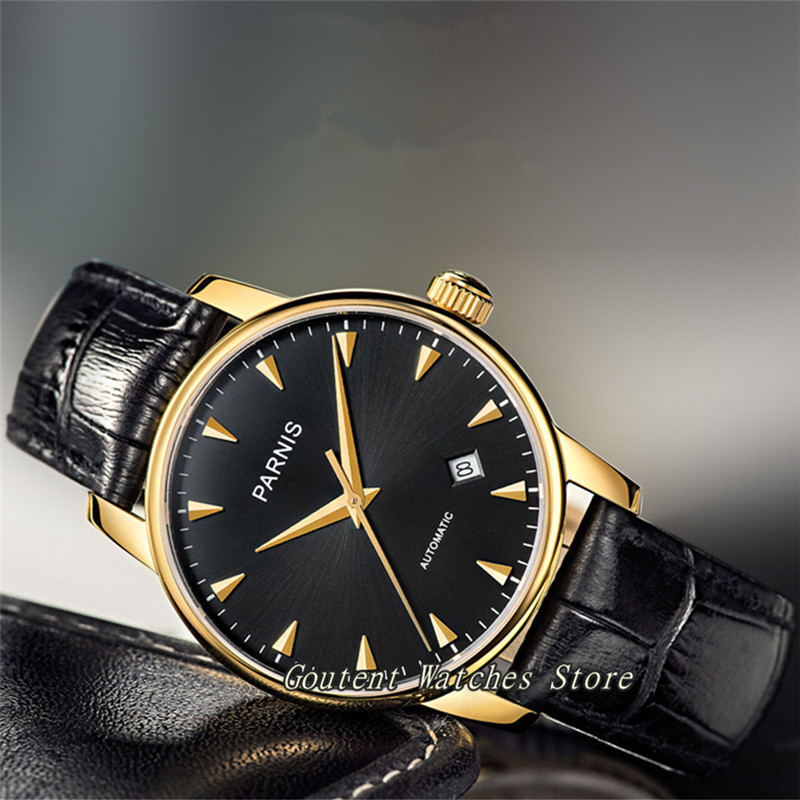 38mm Parnis Gold Case Sapphire Glass Leather Miyota Automatic Men's Watch image