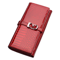 Amasie Cdc Genuine Cow Leather Crocodile Pattern Red Long Purse with Lock Female Women Lady Office Standard Wallet EGT0127