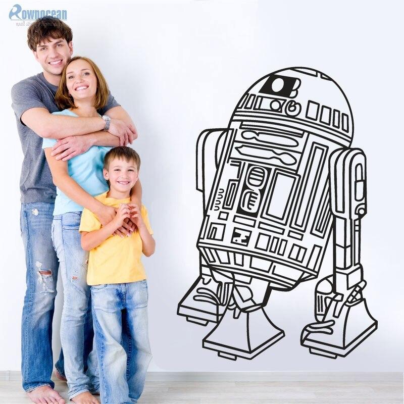 Творческий Дизайн Звездные войны Робот стены Стикеры R2 D2 Наклейка виниловая Домашний Декор дети Geek Gamer росписи Спальня обои Съемный S-21