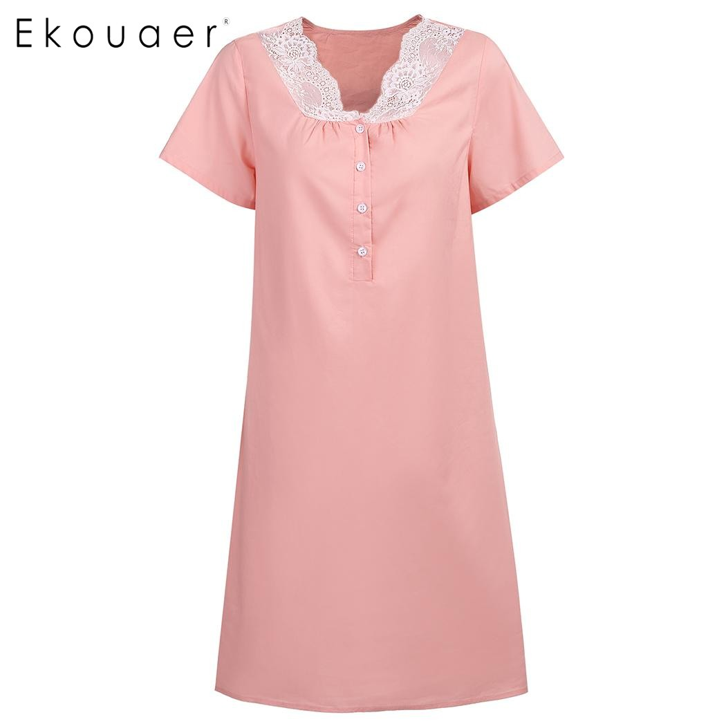 Ekouaer Women Casual Sleepwear 100% Cotton Nightdress V-Neck Short Sleeve Lace Button Decor Loose Nightgown Female Home Clothing
