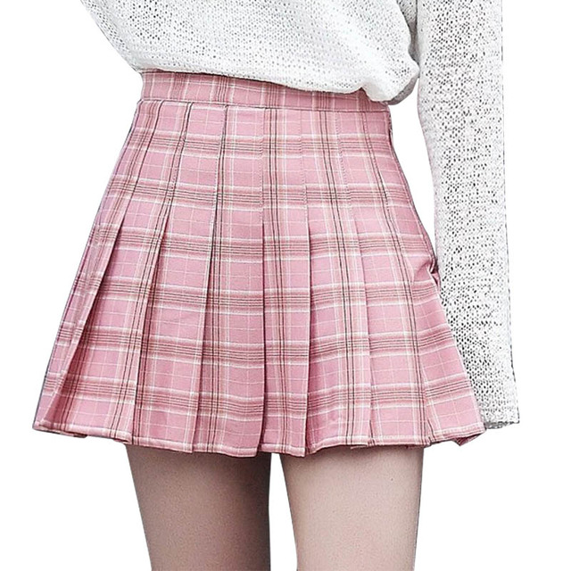 4ae95eb7ba Plus Size Women Girls Pleated Skater Skirt High Waist Plaid Print A-line  School Skirt Uniform With Inner Shorts Summer Skirts