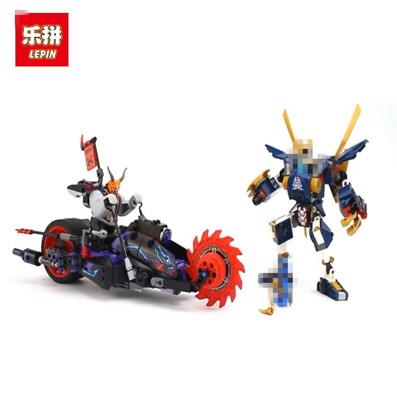 LEPIN 663pcs Ninja Killow Vs. Samurai X Mech Oni Chopper Robots 06077 Building Blocks Assemble Toys Bricks Compatible With 70642 dhl new lepin 06039 1351pcs ninja samurai x desert cave chaos nya lloyd pythor building bricks blocks toys compatible 70596