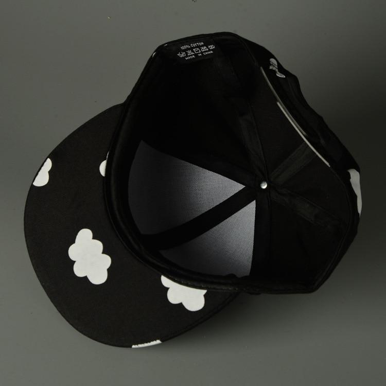 Clouds Adjustable Toddler Snapback Cap - Black Cap Inside View