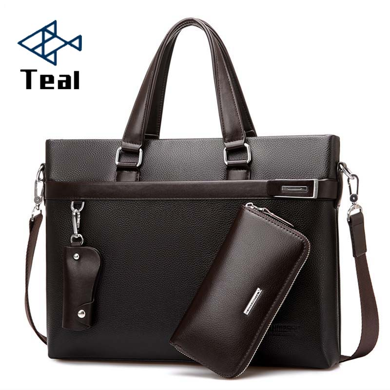 2020 3pcs Set Men Briefcase Leather Male Business Office Bags Men's Briefcase High Quality Black Brown Laptop Briefcase