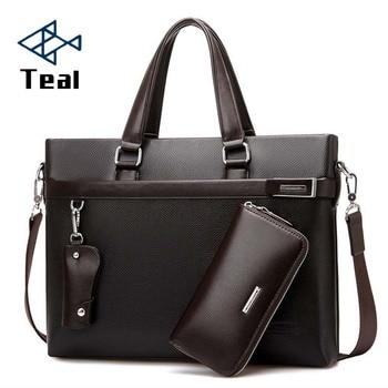 2020 3pcs set Men Briefcase Leather Male Business office bags Men's Briefcase high quality Black Brown Laptop Briefcase