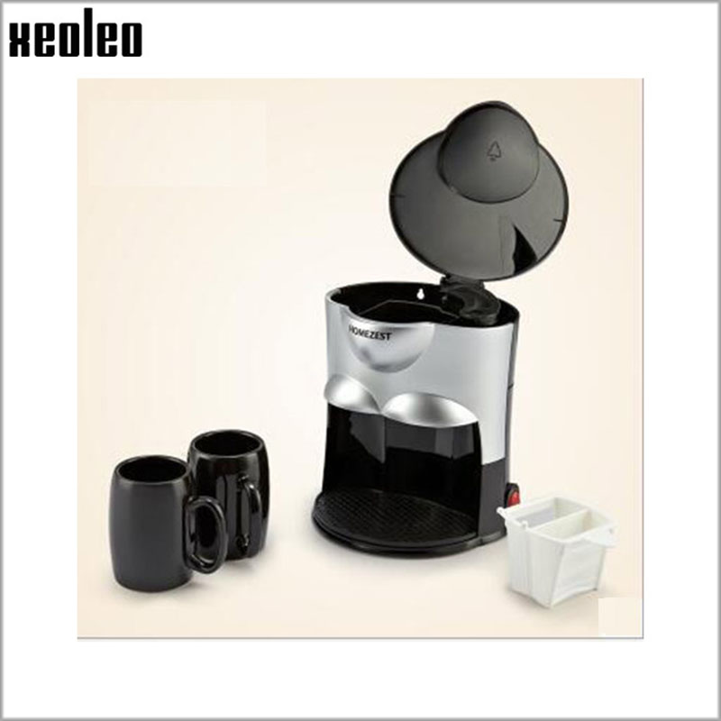 Xeoleo Double Cups Coffee maker Drip Coffee machine Household Hourglass Coffee 300ml with Ceramic Cup Black/Pink 500W 220V-240V creative closestool style coffee cup with cap spoon blue black
