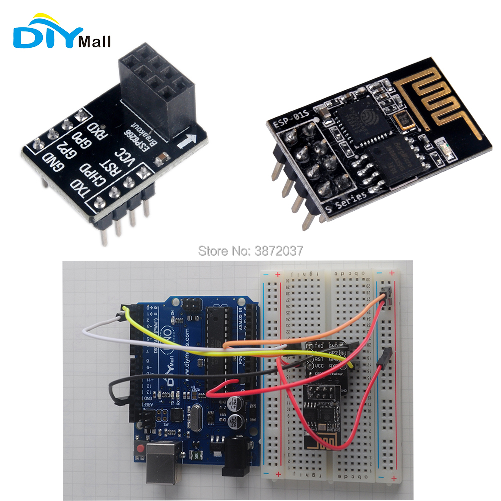 <font><b>ESP8266</b></font> ESP-01S WiFi Wireless Transceiver Module Breadboard <font><b>Adapter</b></font> Breakout <font><b>Board</b></font> for Arduino UNO DIYmall image