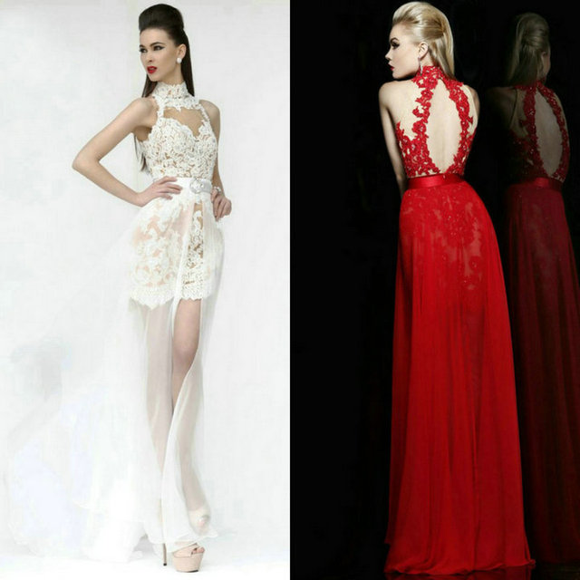 4ccdfee8b White and Red Lace Long Graduation gowns Cocktail Dress Evening High-low Prom  2013