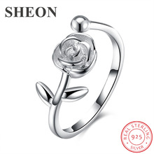 SHEON Simple Rose Rings 925 sterling silver Open Adjustable Finger Ring for Women Authentic Silver Jewelry Anniversary Gift f i n s sterling silver rings for women simple silver golden finger ring minimalist open adjustable ring silver 925 jewelry
