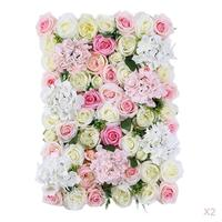 2Packs Upscale Artificial Foliage Silk Flower Wall Panel Wedding Stage Backdrop 16x 24 inch