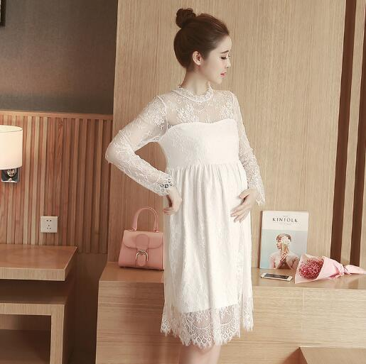 Fashion Maternity Dresses Loose Hollow Summer Long sleeve Lace Dress Maternity Clothes F ...