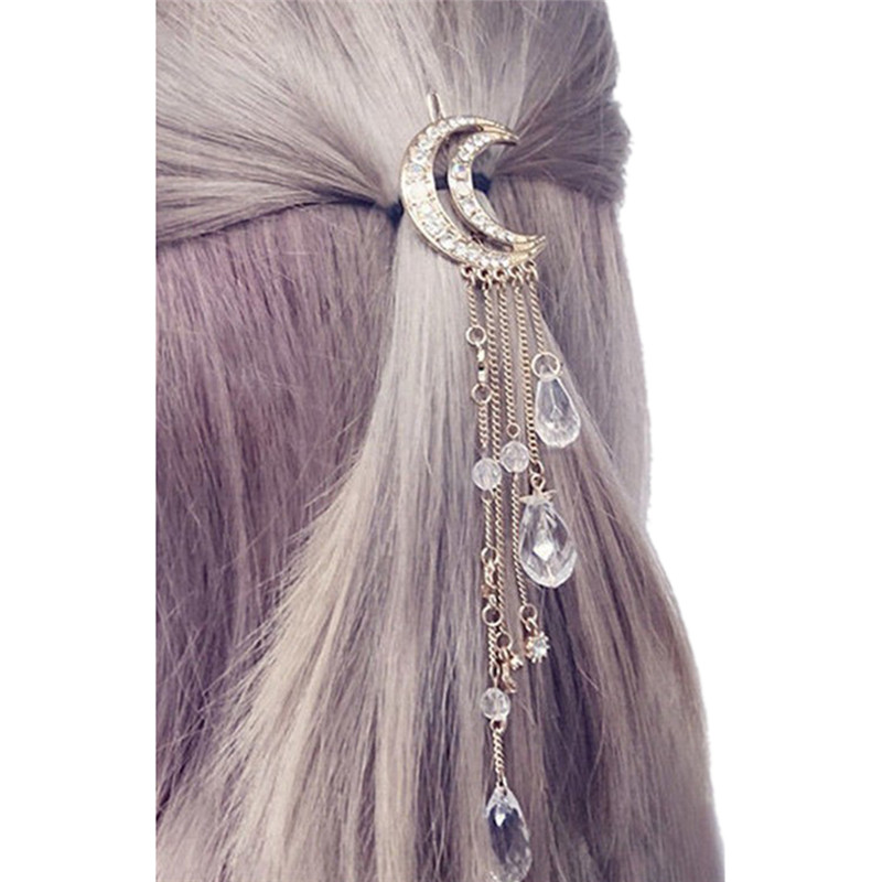 Gold/Rose Gold/Silver/Bronze Color Charming Long Elegant Hair Accessories Moon Crystal Tassels Hair Clip New