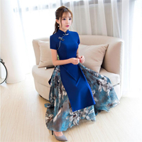 2019 Top quality Ao dai dresses Women Traditional vietnam cheongsam modified long clothing high split plus size M 3XL blue red