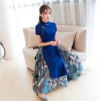 2019 Top quality Ao dai dresses Women Traditional vietnam cheongsam modified long clothing high split plus size M 3XL blue red