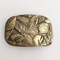 Retail 2016 New Style Solid Brass 3D Feathers Belt Buckle With Fashion Man Woman Jeans Jewelry