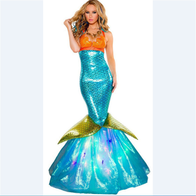 Halloween Costume Mermaid Princess Adult Long Skirt Sequins Decoration Mermaid Cosplay Sexy Wrapped Chest Costumes