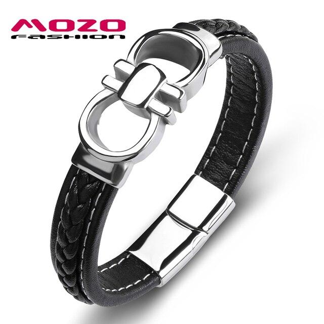 Mozo Fashion Brands Men Por Bracelet Black Leather Stainless Steel Charm Bracelets Man Cross Lattice Punk