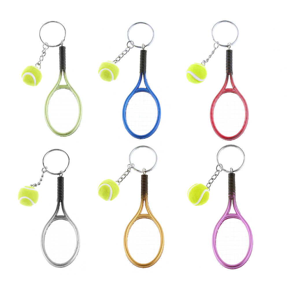 1 Pc Mini Tennis Racket Keychain Key Ring Cute Sport Charm Tennis Ball Key Chain Car Bag Pendant Keyring Gift 6 Colors