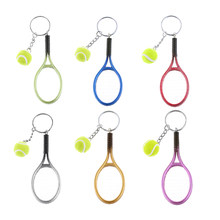 1 Pc Mini Tennis Racket Keychain Key Ring Cute Sport Charm Tennis Ball Key Chain Car Bag Pendant Keyring Gift 6 Colors(China)