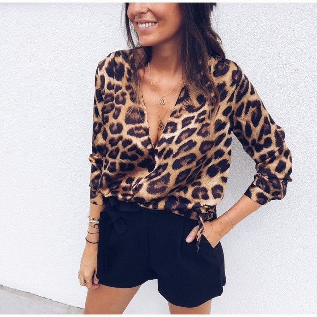 BEFORW Women Sexy Deep V Neck Blouse Leopard Print Shirt Ladies Autumn Long Sleeve 2018 Casual Pullovers Blouses Wrap Tops