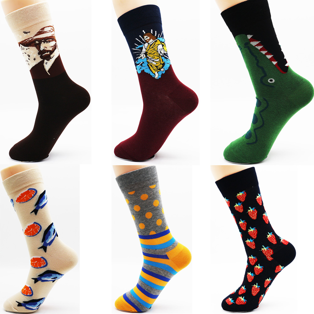 New winter mens fun high quality fashion casual cotton socks Man brand business socks wholesale (6 pairs ) ...