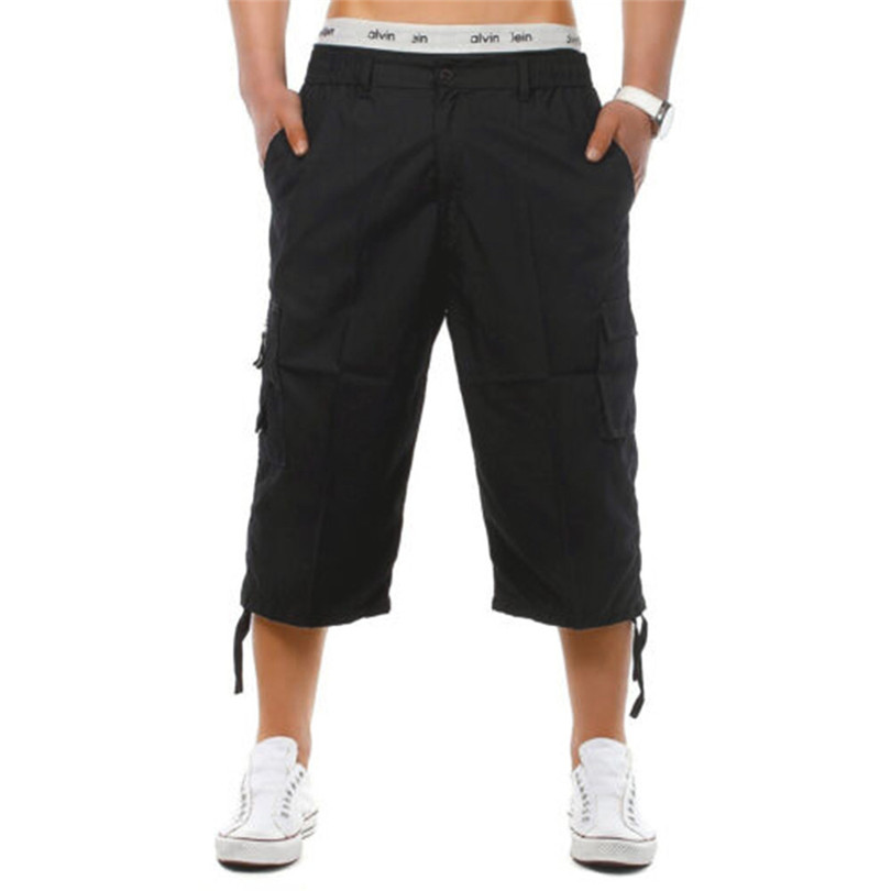 New Men Shorts 2019 Summer Fashion Elasticated Waist Combat 3/4 Long Knee Length Cargo Shorts Safari Style Pant #Jun07 Wholesale