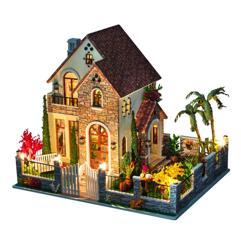 May Baby #5001DIY Mini Dollhouse Furnitures LED 3D Wooden Model Doll House Toys Puzzle Decorate Christmas Gifts Drop Shopping mini dollhouse mini furniture model living room doll baby baby doll