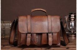 Haute capacité hommes mallette en cuir véritable hommes sac à bandoulière d'affaires Style Vintage collège bandoulière sacs en peau de vache Bolso D830