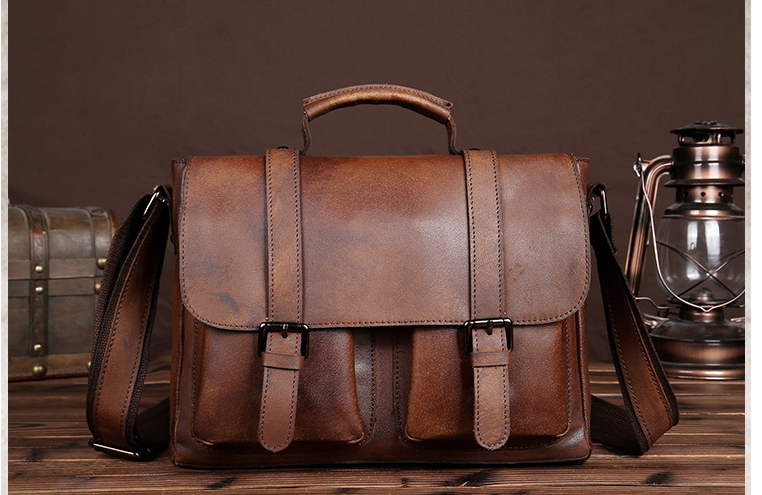 High Capacity Men Genuine Leather Briefcase Mens Shoulder Business Bag Vintage Style College Crossbody Cowhide Bags Bolso D830