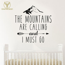 The Mountains Are Calling Decals Arrow Nursery Home Decor Wall Sticker Kids Room Vinyl  Self Adhesive Quote Interior BO34