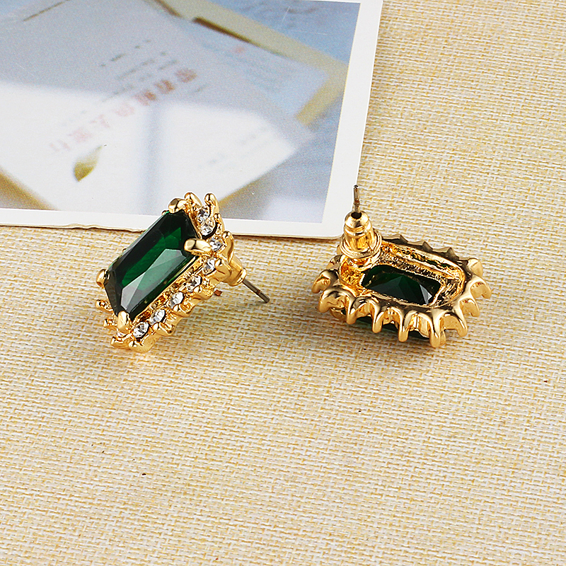 Crystal The Square Green Wedding Earrings Korean Fashion Plated Gold Statement Online Ping India Studs In Stud From Jewelry