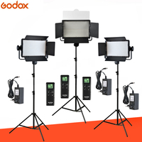 Free DHL Godox 3x 500 LED Panel 3300 5600K Bi color Video Light Continuous Lighting Kit LED500C LED500W + 2.8m Stand + Adapter