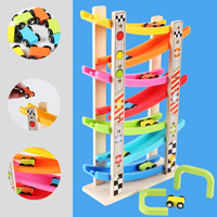 Wooden 7 Layer Car Ramp Racer with 8 Mini Cars Vehicle Playset Sliding Toy Toddlers Kid Developmental Ramp Track Vehicle Game