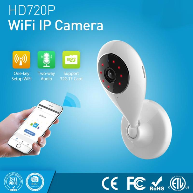 Smart Home IP Camera 720P Wifi Wireless Night Vision Two Way Audio Camera Support 64G SD Card Compatible with Alexa Google Home