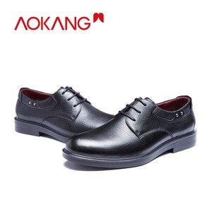 Image 5 - AOKANG جديد وصول الرجال فستان أحذية جلد أصلي للرجال أحذية ماركة أحذية الرجال البروغ أحذية عالية الجودة شحن مجاني 193211002