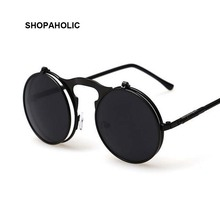 Vintage Steampunk Male Sunglasses Men Round Designer Steam Punk Metal Masculino Coating Sun Glasses for Women Oculos De Sol
