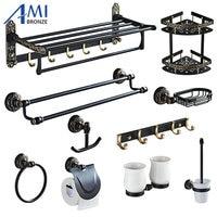 Black&Gold Carved Aluminum Bathroom Fixture Bath Hardware Set Towel Shelf Towel Bar Paper Holder Cloth Hook BG1001 Series