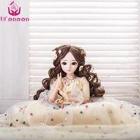 Ucanaan/BJD 1/3 кукла карие глаза 18 шаровых шарниров девушка кукла с наряд платье шоссе парик Макияж игрушки для детей brinquedos SD кукла