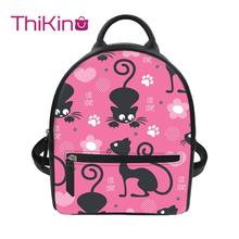 Thikin Cute Music Cat Backpack for Ladies Girls Dog Pattern Travel Mochila PU Mini Zipper Schoolbag Student Preppy Style Bag