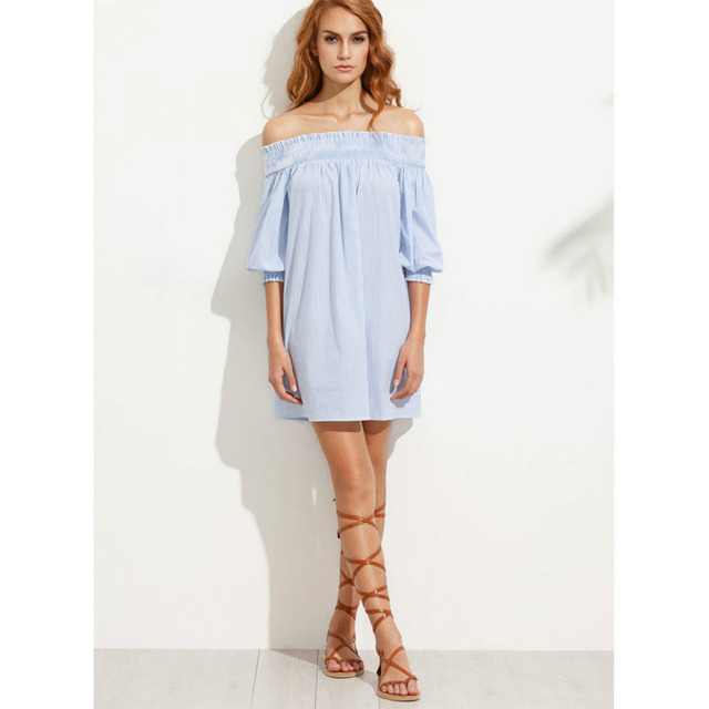Runway dress zomer 2017 blauw wit gestreepte jurken vrouw lente dress robe sexy grande taille femme forte leisure dress
